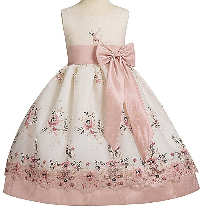 Ivory Organza Easter Dress with Dusty Rose Embroidery and Dusty Rose Taffeta Waistband, Sash, and Bow Size 2T