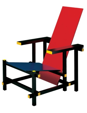 By Gerrit T. Rietveld, Red and Blue Chair. Year of drawing: 1 9 1 8. Manufacturer: Cassina.
