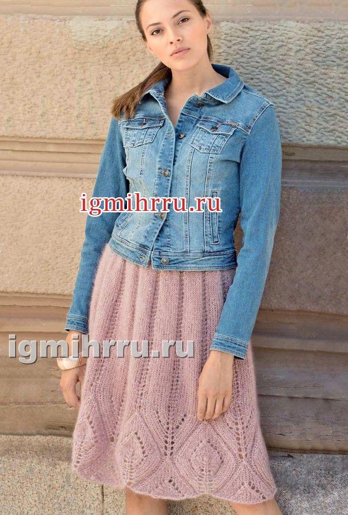 Розовая мохеровая юбка с ажурным бордюром. Вязание спицами