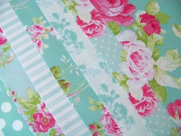 7 Fat Quarters Bundle Tanya Whelan SADIE'S DANCE CARD in Jade ~ 1.75 yards total…