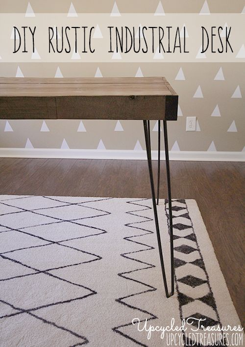 DIY Rustic Industrial Desk using thrifted hairpin legs and upcycled pallet wood. {UpcycledTreasures.com} #diydesk