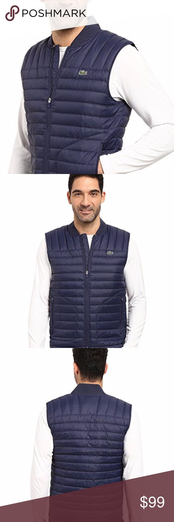 Lacoste Packable Vest BIG&TALL Kick back in a Lacoste® Puffer Vest. Puff vest in a quilt design. Baseball collar. Sleeveless feature. Zip hand pockets at sides. Full zip front closure. Interior chest pocket. Signature crocodile embroider at left chest. Bias cut at straight front and back yok Lacoste Jackets & Coats Vests