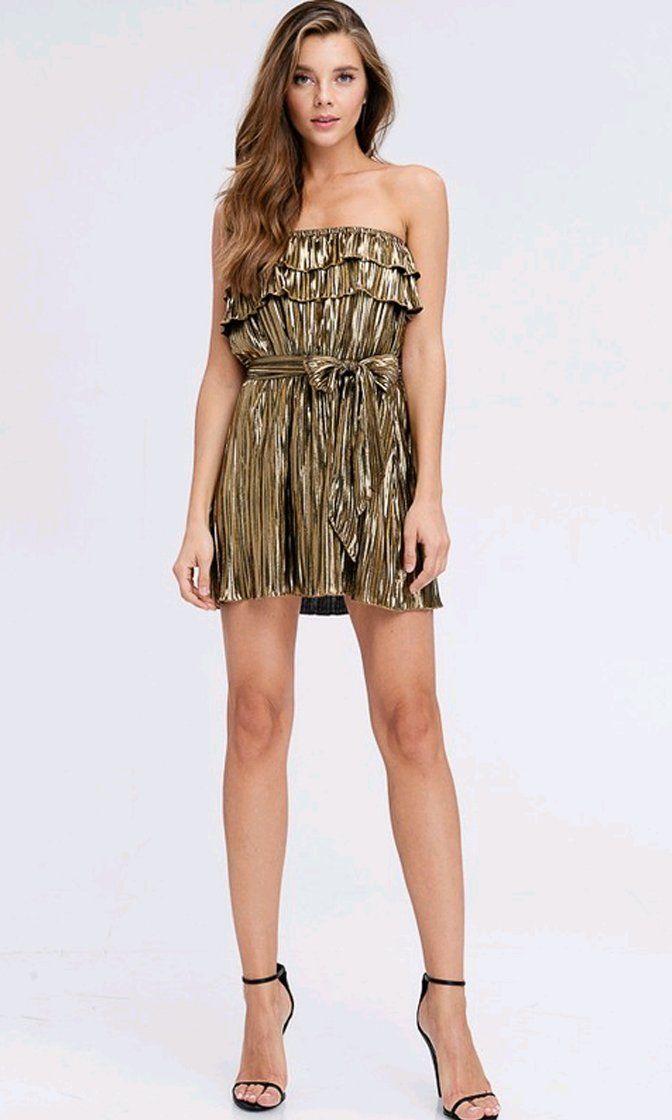 c450c7b57b Wild Thing Gold Metallic Pleated Strapless Ruffle Tie Waist Mini Dress –  Indie XO