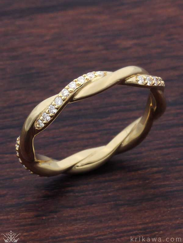 Tight Twist Diamond Wedding Band In 14k Yellow Gold And White Dia White Gold Engagement Rings Unique Vintage Engagement Rings Art Deco Yellow Gold Wedding Band