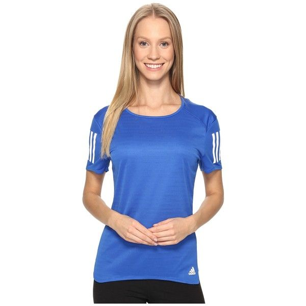 adidas Response Short Sleeve Tee (Blue) Women's Short Sleeve Pullover ($28) ❤ liked on Polyvore featuring activewear, activewear tops, blue pullover, adidas pullover, sweater pullover, crew neck pullover and adidas