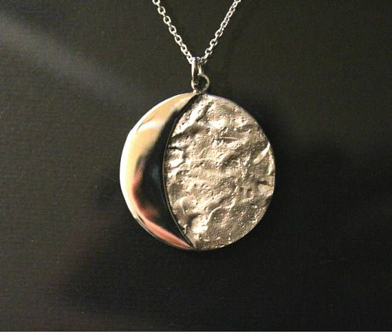 Moon necklace moon jewelry moon quarter pendant Halloween