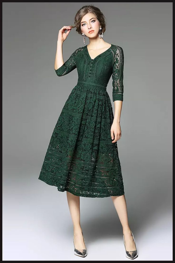 2017 Dark Green Lace Dress 3/4 Sleeves V Neck A Line 2017 Spring Long Dresses In Stock Ladies Formal Gown Online From Dressonline0603, $60.31 | Dhgate.Com