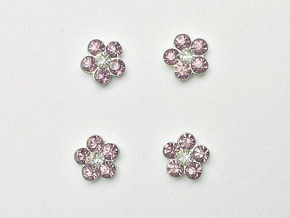 4 Pink Rhinestone Flower Floating Charms  Glass Locket Charms