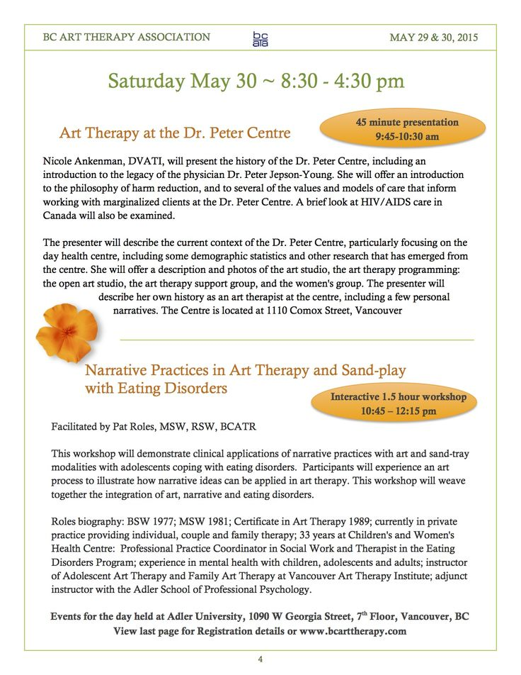 May 30 BCATA Vancouver Conference: Dr. Peter Centre and Narrative Practices.  Page 4 of brochure www.facebook.com/BCArtTherapyAssociation