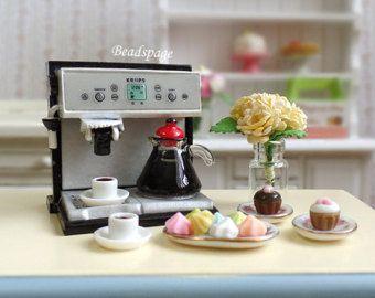 Poppenhuis miniatuur koffiemachine / bundel Set - schaal 1:12 (1 inch schaal) High-Tea Petite Cafe Expresso Cute Kawaii (Zie Item Details)