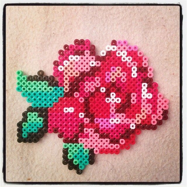 Rose flower hama beads (ironed) by montse_akane