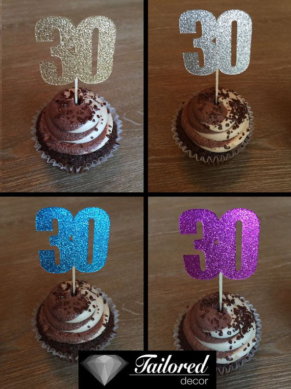 12 Thirtieth Birthday Cupcake Toppers Thiry by TailoredDecorLtd