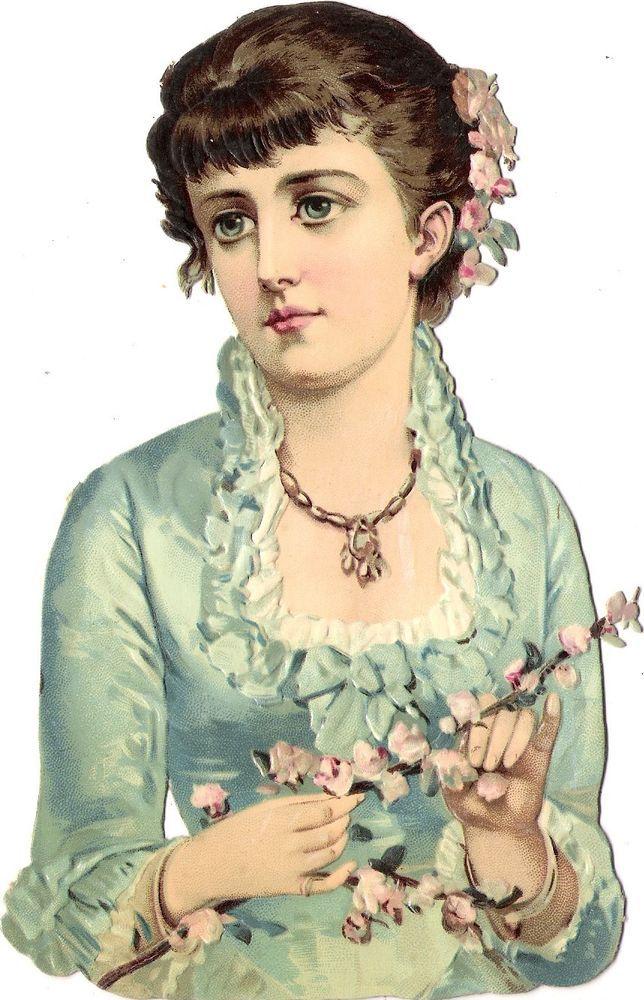 Oblaten Glanzbild scrap die cut chromo Dame lady 17cm  femme Blüte Zweig blossom