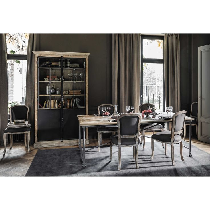 table de salle manger en bois et m tal l 220 cm mirabeau maisons du monde salle manger. Black Bedroom Furniture Sets. Home Design Ideas