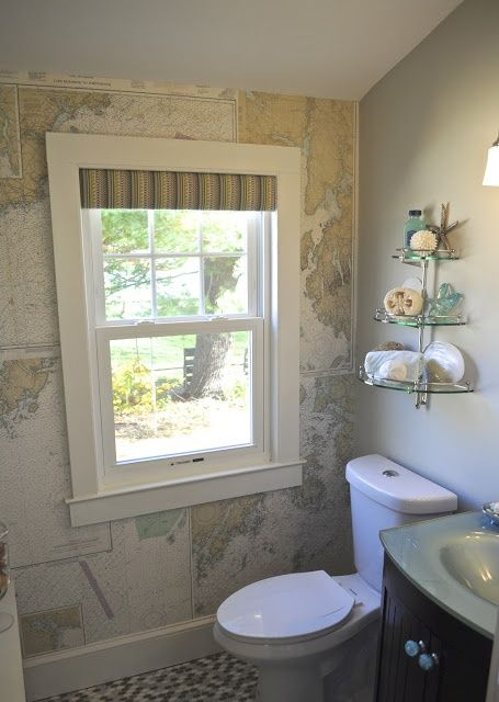SoPo Cottage - bathrooms - world map wallpaper, attic bathroom, shelf over toilet, over the toilet shelving,  Attic bathroom features accent...