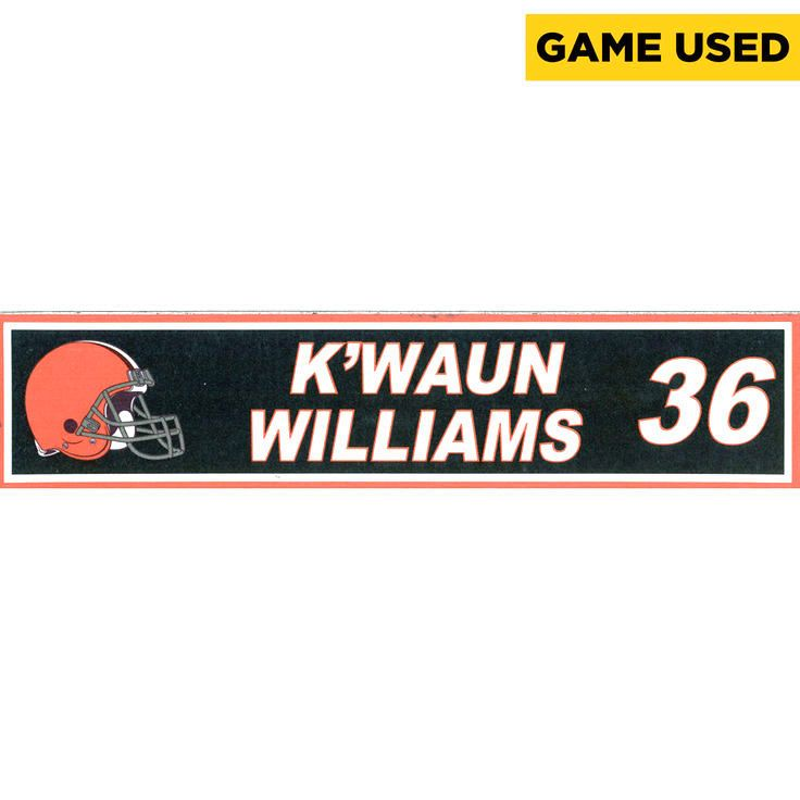 K'Waun Williams Cleveland Browns Fanatics Authentic Game-Used Locker Room Nameplate Used During Road Games In 2014 Season - $17.09