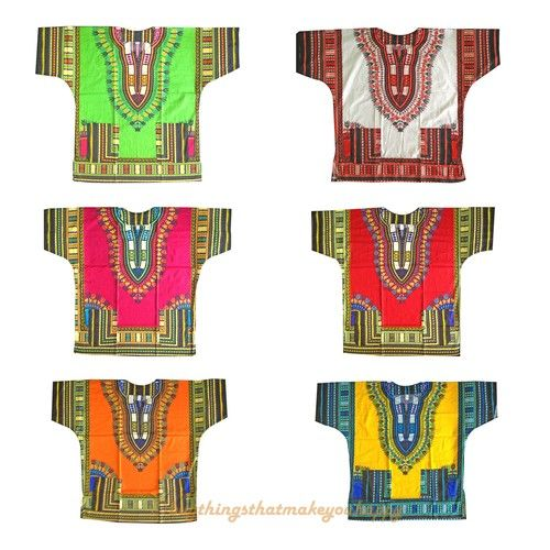 African Shirt Dress men women Dashiki print Hippie Style Caftan Unisex Tribal - $19.50