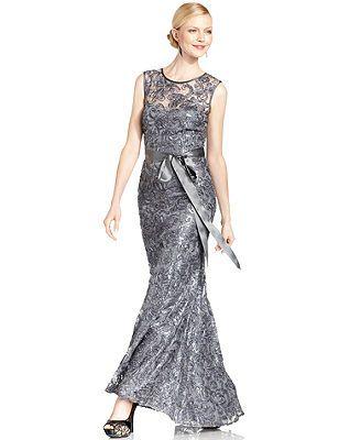 Betsy & Adam Sleeveless Sequin Mermaid Gown