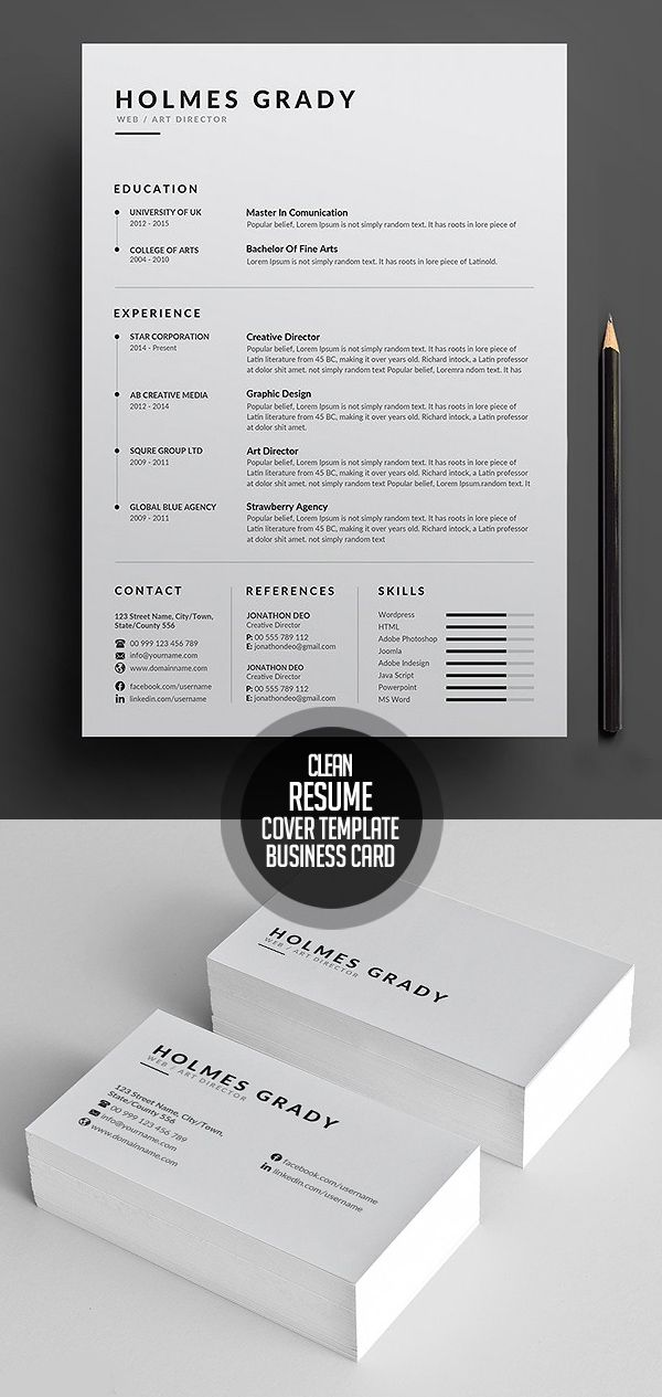 Simple and Clean Resume CV Template 900