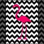 Uma silhueta ou uma forma cor-de-rosa brilhante do flamingo do estilo retro contra um teste padrão de ziguezague preto e branco de contraste.