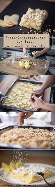 Apfel-Streuselkuchen vom Blechkuchenmann - ein wunderbar einfaches, saftiges und buttriges Rezept für einen Blechkuchen: Apfelkuchen mit leckeren Streuseln.