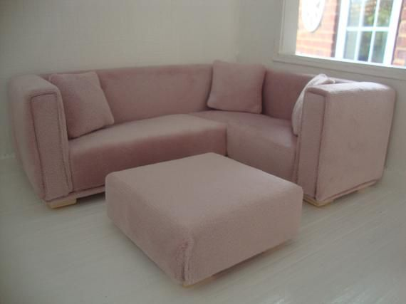 1 12 Scale Velvet Corner Sofa And Footstool In 2020 Velvet Corner Sofa Corner Sofa Footstool Sofa