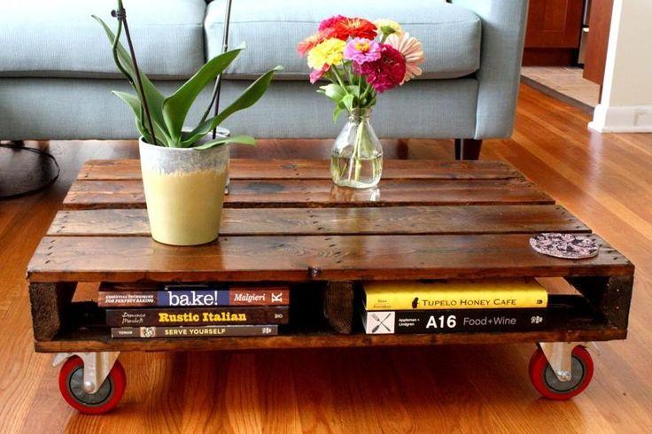#Ecosostenibilità degli arredi Per fare un tavolino basso, prendete un pallet, scartavetratelo, verniciatelo e applicate delle ruote alla base o dei piedini e il gioco è fatto.