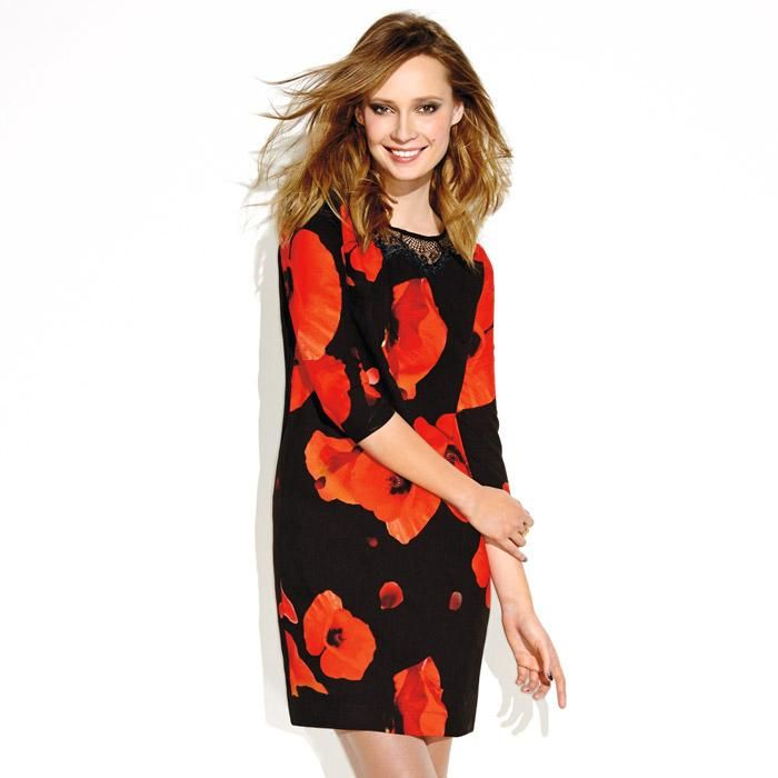 While supplies last. Peppered with poppies and featuring a gorgeous black lace collar, our fully lined dress lives up to its name by shifting from day to night with just a change of accessories. Shell: polyester; Lining: polyester. Imported.