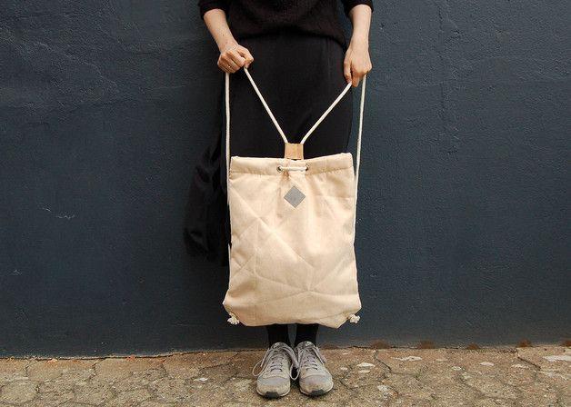 Geometrischer Rucksack aus Alcantara, Wildlederimitat / cool backpack made of fake leather made by Herdentier via DaWanda.com