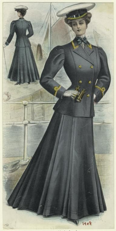 from digitalgallery.org [Woman in nautical clothing, front and back view, ca. 1908.]