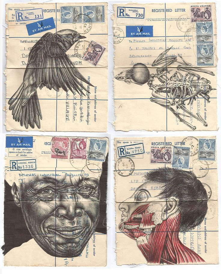 'the prognosis and diagnosis of a young persons dreams' Bic biro drawing on a collection of antqiue envelopes