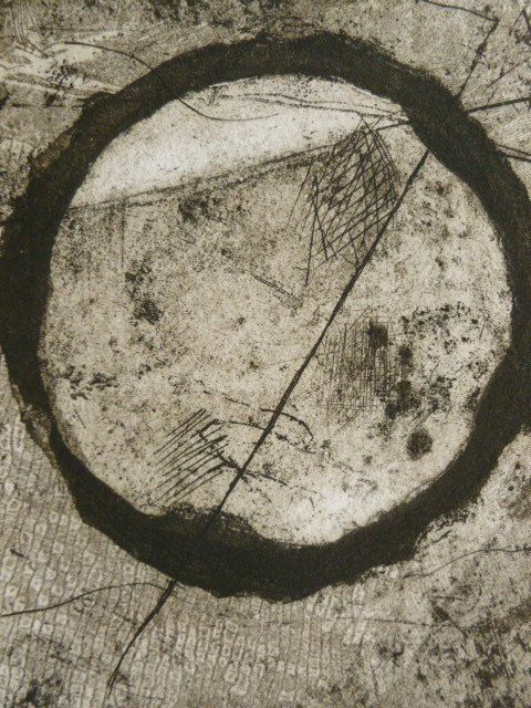 """Circle by Stacy Frank - acid line and aquatint etching, 5""""x5.5"""""""