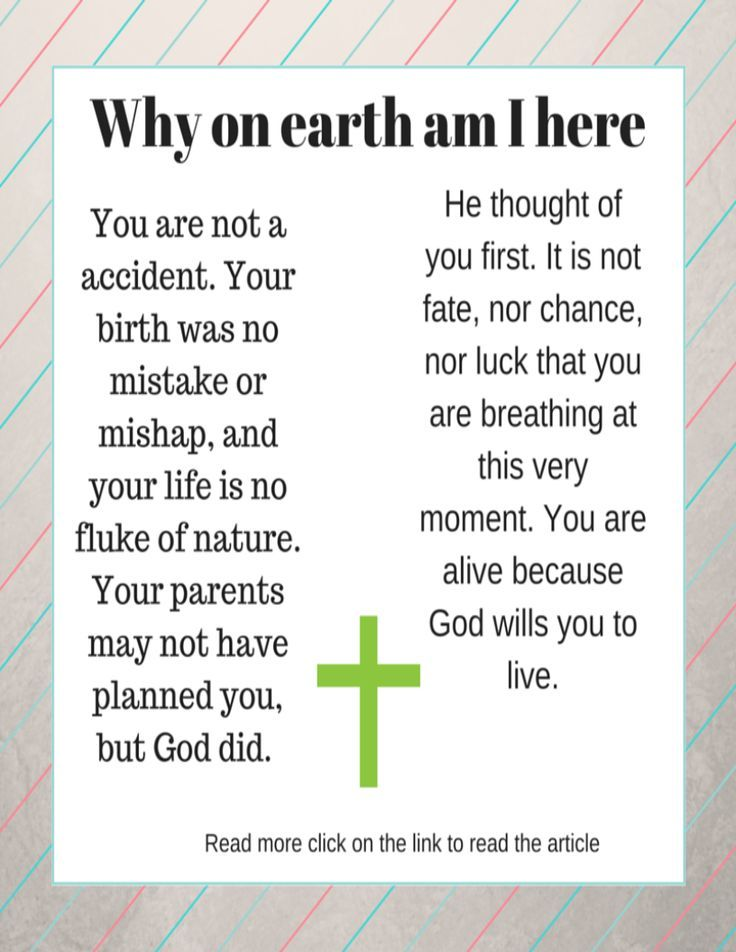 You are not a accident. Your birth was no mistake or mishap, and your life is no fluke of nature. Your parents may not have planned you, but God did. He thought of you first. It is not fate, nor chance, nor luck that you are breathing at this very moment. You are alive because God wills you to live. (scheduled via http://www.tailwindapp.com?utm_source=pinterest&utm_medium=twpin&utm_content=post113861755&utm_campaign=scheduler_attribution)