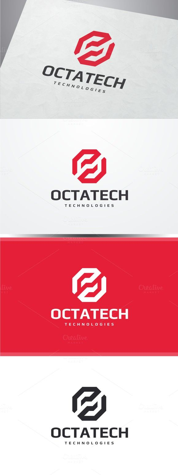 Octa Tech Logo. Technology icons. $30.00