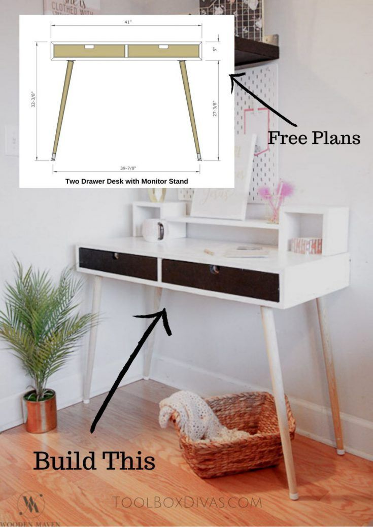 Mid Century Modern Desk With Monitor Stand And Free Plans Toolbox Divas In 2020 Diy Furniture Projects Mid Century Modern Desk Woodworking Projects Diy