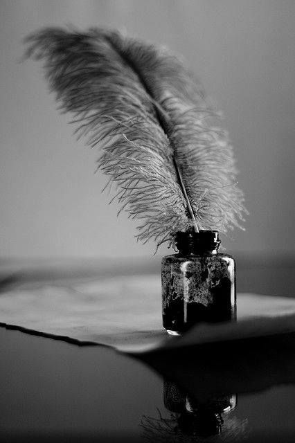 Quill and ink writing