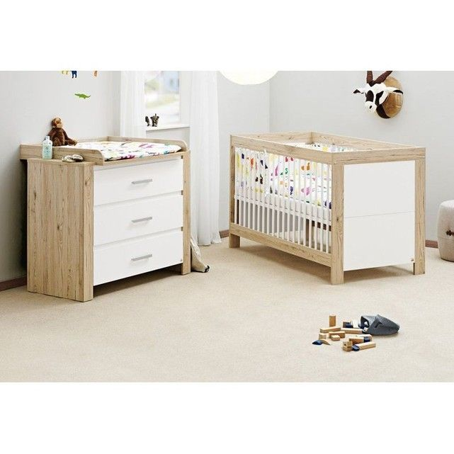 Chambre Bebe Candeo Blanc Chene Lit Bebe Commode A Langer