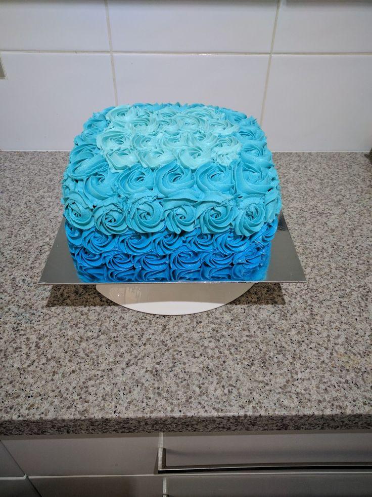 Ombre blue square cake
