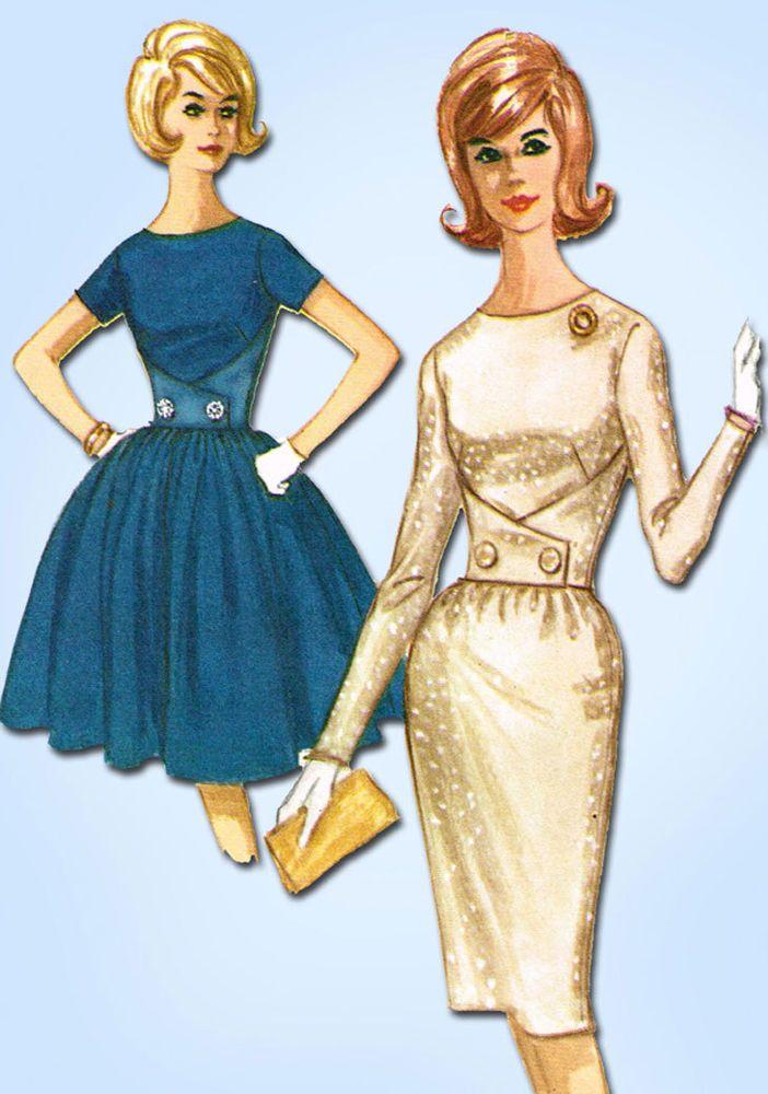 1960s Vintage McCalls Sewing Pattern 6473 Misses Dress w Gr8 Bodice Size 31.5 B #McCalls #DressPattern