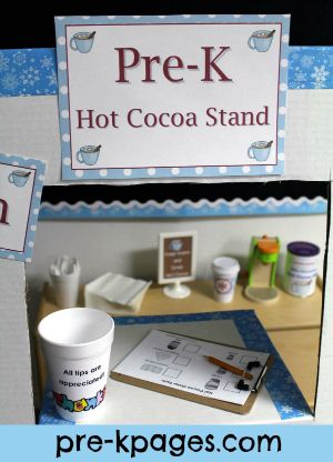 To go with our ice skating rink?  Dramatic Play Hot Cocoa Printable Kit for Winter in Kindergarten or Pre-K via www.pre-kpages.com