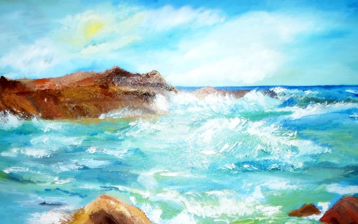 Ocean's waves, oil on canvas, Romania
