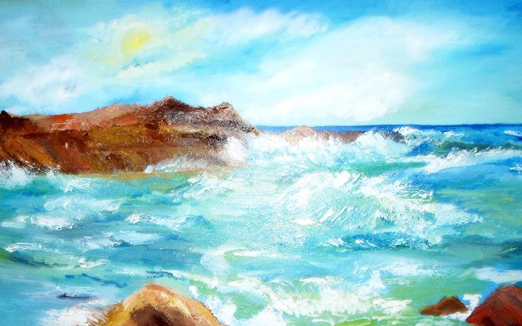 Ocean's waves, oil on canvas, Romania