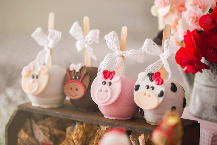 Chocolate Covered Farm Animal Apples from a Girly Little Farm Birthday Party via Kara's Party Ideas | KarasPartyIdeas.com (25)