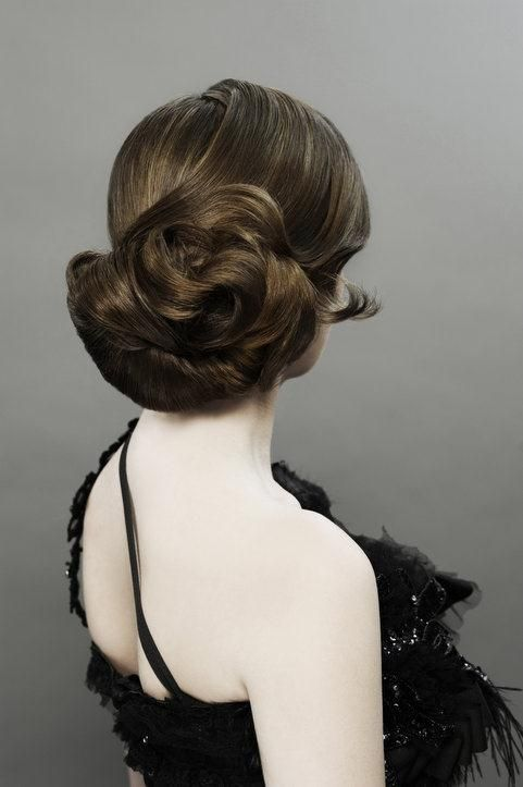 brunette up do with dimension. Beautiful