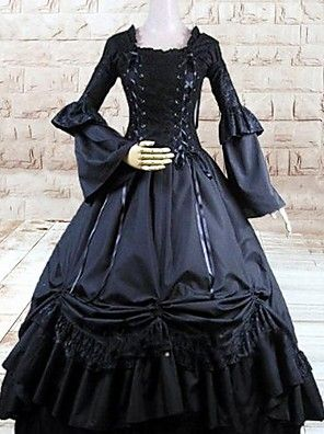 Badpak/Jurken Gothic Lolita Cosplay Lolita Jurken Zwart Effen Lange Mouw Lange Lengte Kleding Voor Dames Katoen