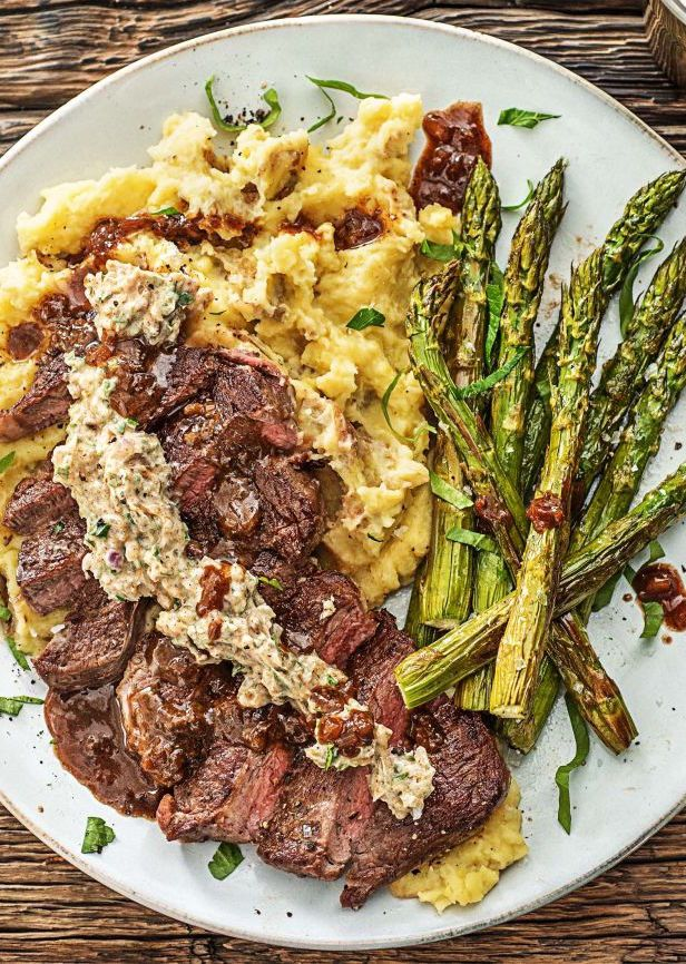 New York Strip Steak With Truffle Butter Recipe Hellofresh Recipe Hello Fresh Recipes Asparagus Recipes Roasted Night Dinner Recipes