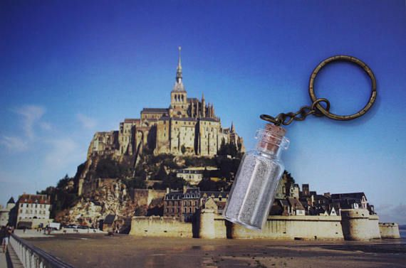 Sable du Mont Saint Michel véritable  France porte clés