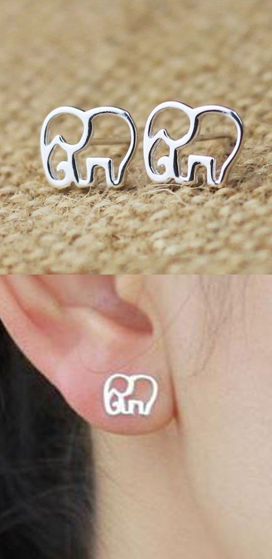 so cute elephant earrings !Cute Hollow Elephant Silver Earring Stud #elephant #earring #studs #silver #hollow #cute