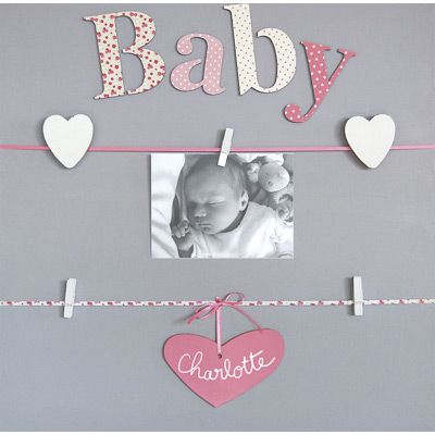 Pêle-mêle Rose 5 vues personnalisable à la craie Baby - Titoutam