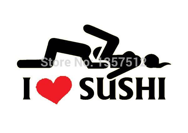 Sıcak Satış I Love Sushi Sticker Araba Pencere Kamyon Kapı Tampon Çıkartması Vinil Komik JDM Drift Ralli 8 Renkler